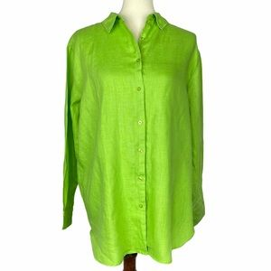Symple NYC Green Blouse 100% Linen Size Large L